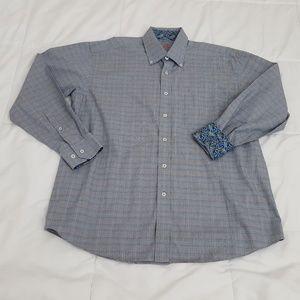Alan Flusser Casual Shirt Men Large Flip Cuff Gray